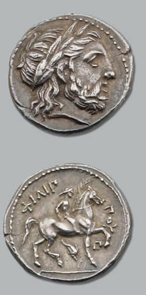Tétradrachme. 14,24 g. Amphipolis Tête laurée...