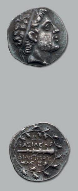 Drachme. 4,11 g. Tête de Philippe V diadémée...