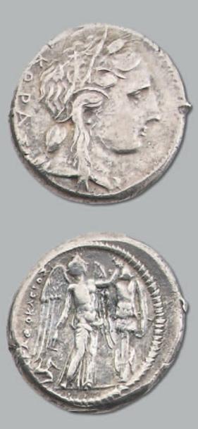 Tétradrachme. 16,63 g. Règne d'Agathoclès...