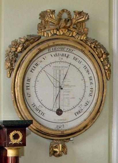 Baromètre d'époque Louis XVI en bois doré...