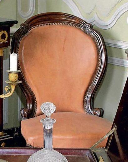 Large chaise dite chauffeuse en palissandre...
