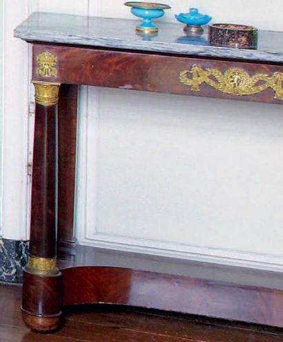 Table console en acajou avec un tiroir, pieds...