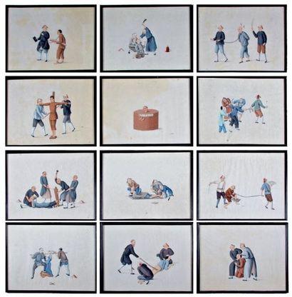 Suite de douze dessins, aquarelles chinoises...