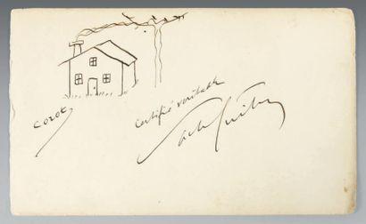 GUITRY (Sacha) Dessin original signé «Corot» et, en dessous, «Sacha Guitry». Plume...