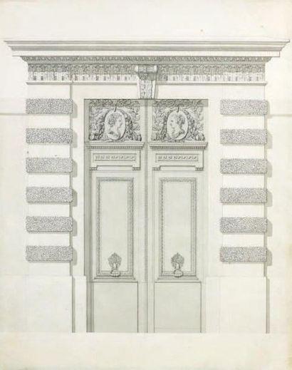 École Française du XIXe siècle Projet de portail Plume. 32 x 26 cm