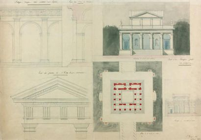 P. GEORGE Projet pour un chauffoir public Crayon, plume, lavis, aquarelle. Signé...