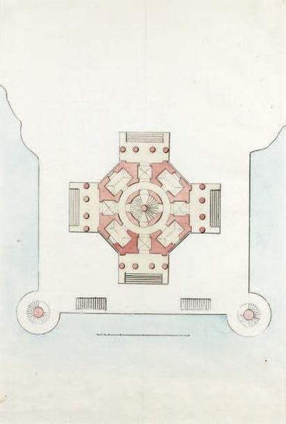 Attr. à Giacomo QUARENGHI (1744-1817) Plan d'un pavillon octogonal Plume, aquarelle....