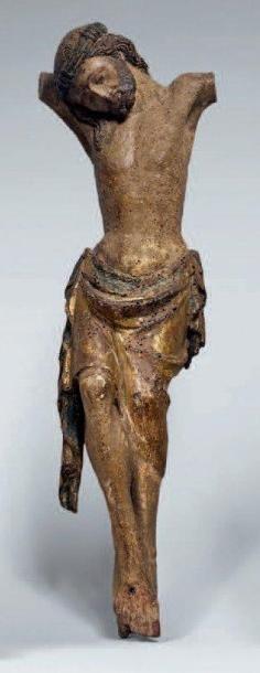 Christ en bois polychrome et doré au long...