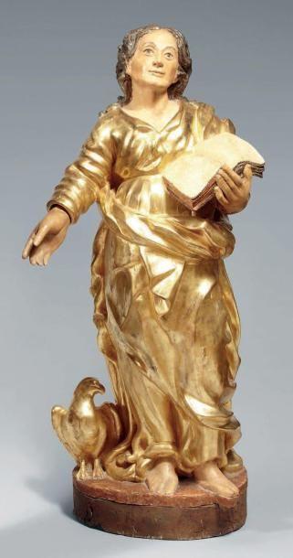 Statue en bois sculpté polychrome redoré...