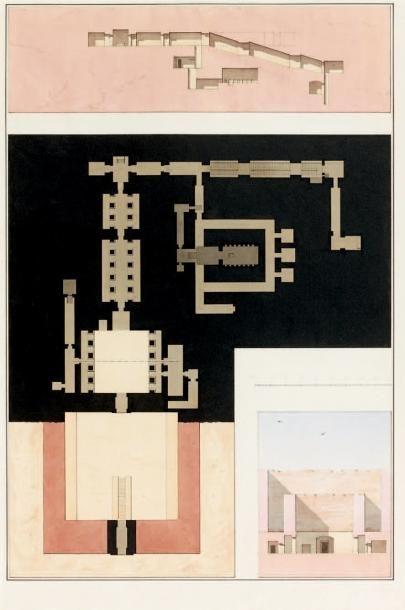 A.C.T.E. PRISSE d'AVESNES (1807-1879) Relevé d'un tombeau égyptien, Thèbes, tombe...