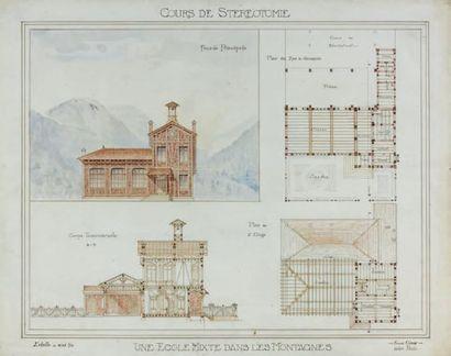 Fernand CÉSAR Une école mixte dans les montagnes Crayon, plume, aquarelle. 48 x 61...