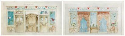 HILDEVERT (actif à la fin du XIXe siècle) Projet pour une salle à manger Deux aquarelles...