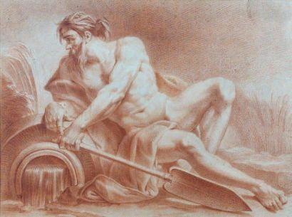 École FRANÇAISE du XVIIIe siècle Dieu Fleuve Sanguine. 42 x 57,5 cm