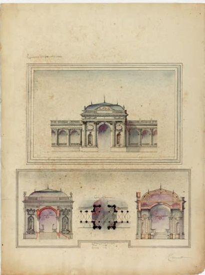 HILDEVERT (actif à la fin du XIXe siècle) Projet pour une porte d'entrée sur une...