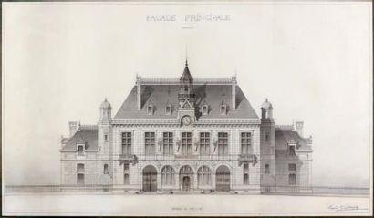 Eugène CALINAUD (1843-1907) Hôtel de ville, façade principale Plume, lavis gris....