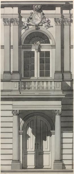 École FRANÇAISE de la fin du XIXe siècle Étude d'une partie de façade, château Ermitage,...