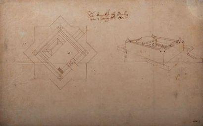 ÉCOLE ALLEMANDE DU DÉBUT DU XVIIE SIÈCLE Projet pour un château fortifié, plan et...