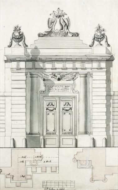 Ecole autrichienne de la Fin du XVIIIè siècle Projet de portail Plume, lavis. 32,5...