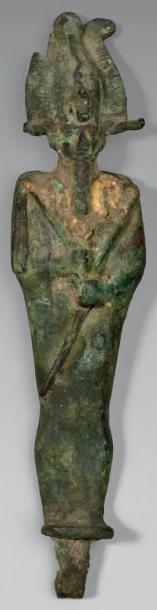 Osiris. Bronze patine verte état de fouille,...