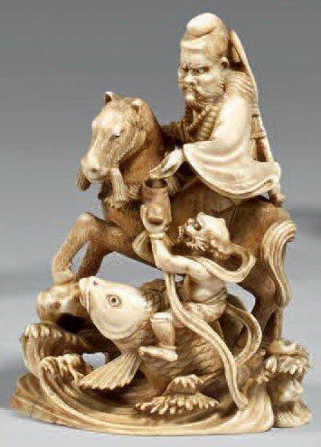 Okimono en ivoire à patine aune, Oni chevauchant...
