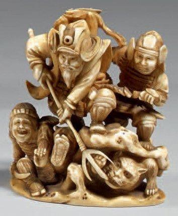 Okimono en ivoire à patine jaune, Shoki en...