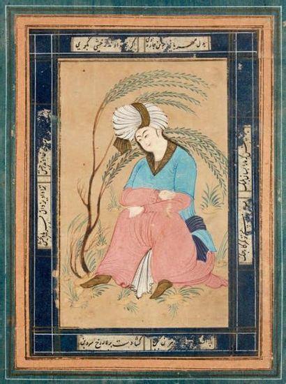 Jeune homme sous un saule, Iran, style safavide...