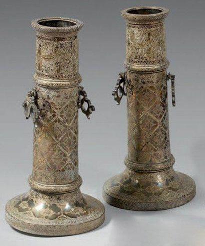 Deux grands chandeliers, shamdan, Iran, XXe...