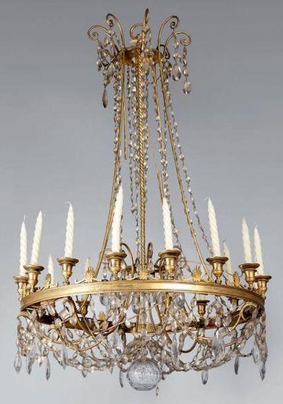 Grand lustre corbeille en bronze doré à seize...