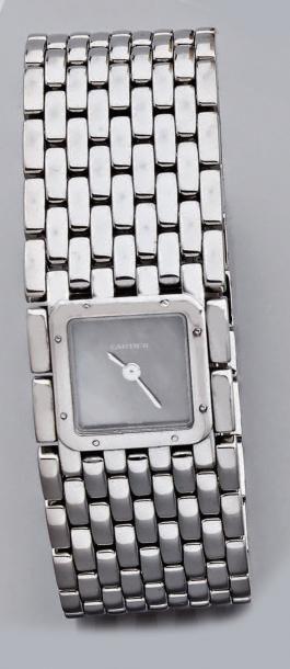 Montre-bracelet de dame, carrée, en acier,...