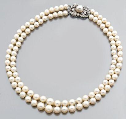 Collier double rang de perles de culture...