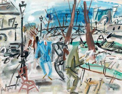 GEN PAUL (1895-1975) Paris, le pont des Arts, 1934 Gouache, signée en bas à gauche....