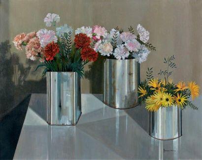 Jose Luis FIGUEROA (né en 1925) Trois bouquets, 1980 Huile sur toile, signée et datée...