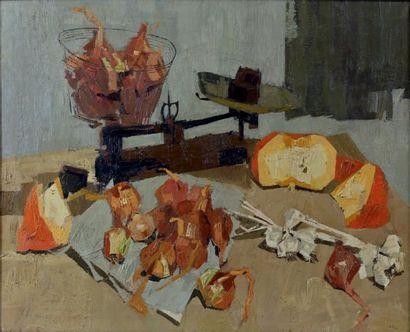 Jean LE MERDY (né en 1928) Nature morte à la balance, 1962 Huile sur toile, signée...