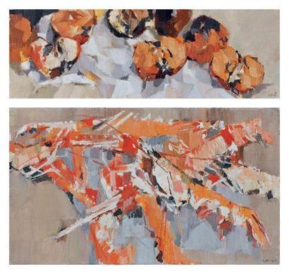 Jean LE MERDY (né en 1928) Pommes, 1973 Crevettes roses, 1971 Deux huiles sur toiles...