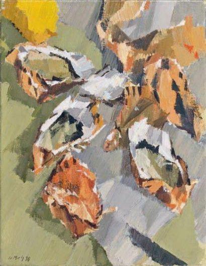 Jean LE MERDY (né en 1928) Nature morte aux huîtres 1970 Huile sur toile, signée...