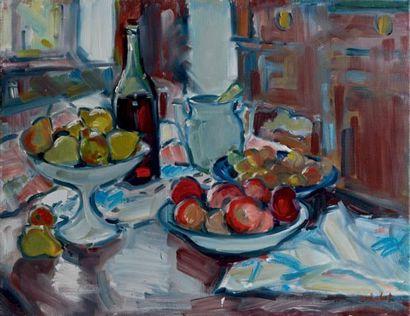 Jean CHABOT (né en 1914) Coupes de fruits Huile sur toile, signée en bas à droite....
