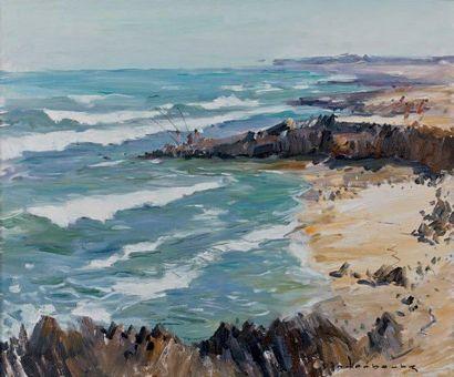Paul-Jean ANDERBOUHR (1909-2006) Partie pêche en bord de mer Huile sur toile, signée...