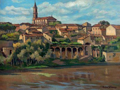 André STRAUSS (1885-1971) Albi, 1943 Huile sur toile, signée et datée en bas à droite....