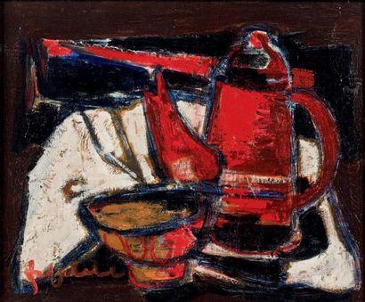 Jef FRIBOULET (1919-2003) La cafetière rouge Huile sur toile, signée en bas à gauche....