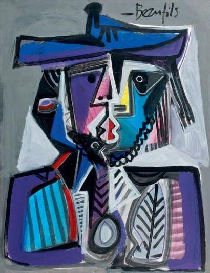 Jean-Luc BEAUFILS (Né en 1953) Hommage à Picasso Gouache vernissée, signée en haut...