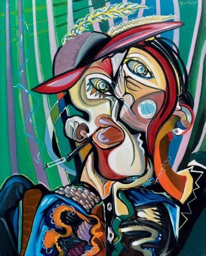 Georges PAINEAU (né en 1939) Le chapeau de madame Ginioux, 2003 Peinture sur toile,...