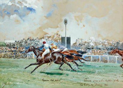John BEER (vers 1860 - vers 1930) Sandown Park, The Eclipse Stakes, 1901 Gouache,...