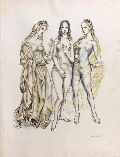 LEONARD FOUJITA Les trois grâces, 1960, lithographie, 52 x 40 cm, marges 70 x 55...