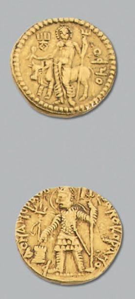 INDE GRANDS KOUCHANS Vasudeva 1er (185-228) Statère d'or. 8,05 g. Le roi debout tenant...