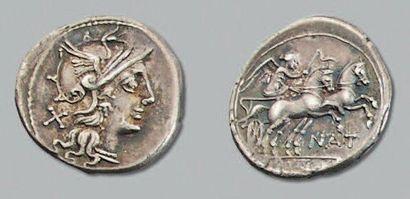 PINARIA (155 av. J.-C.) Denier. Tête de Rome...
