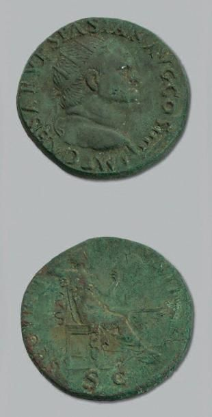 VESPASIEN (69-79) Dupondius. Sa tête radiée...