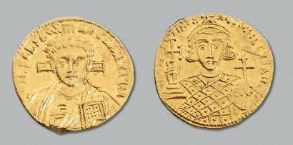 JUSTINIEN II, 2e règne (705-711) Solidus. 4,46 g. Constantinople. Buste du Christ...