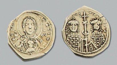 MICHEL VII et MARIE (1071-1078) Tétartéron nomisma en électrum. 4,05 g. Constantinople...