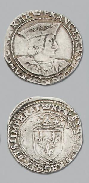 FRANÇOIS 1er (1515-1547) Teston, 3e type. Rouen. D. 794. TB à TTB.