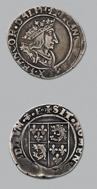 FRANÇOIS 1er (1515-1547) Demi teston du Dauphiné,...